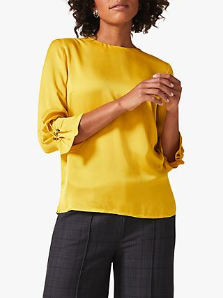 Phase Eight Betty-Maya Cuff Blouse, Chartreuse