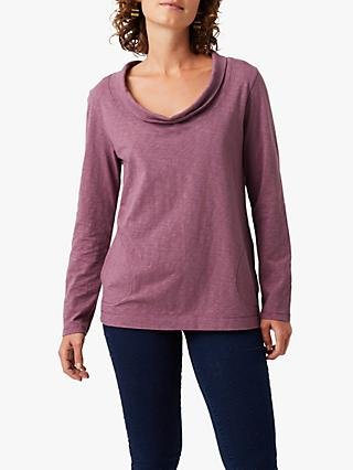 White Stuff Charlotte Cowl Neck Cotton T-Shirt, Berry Purple