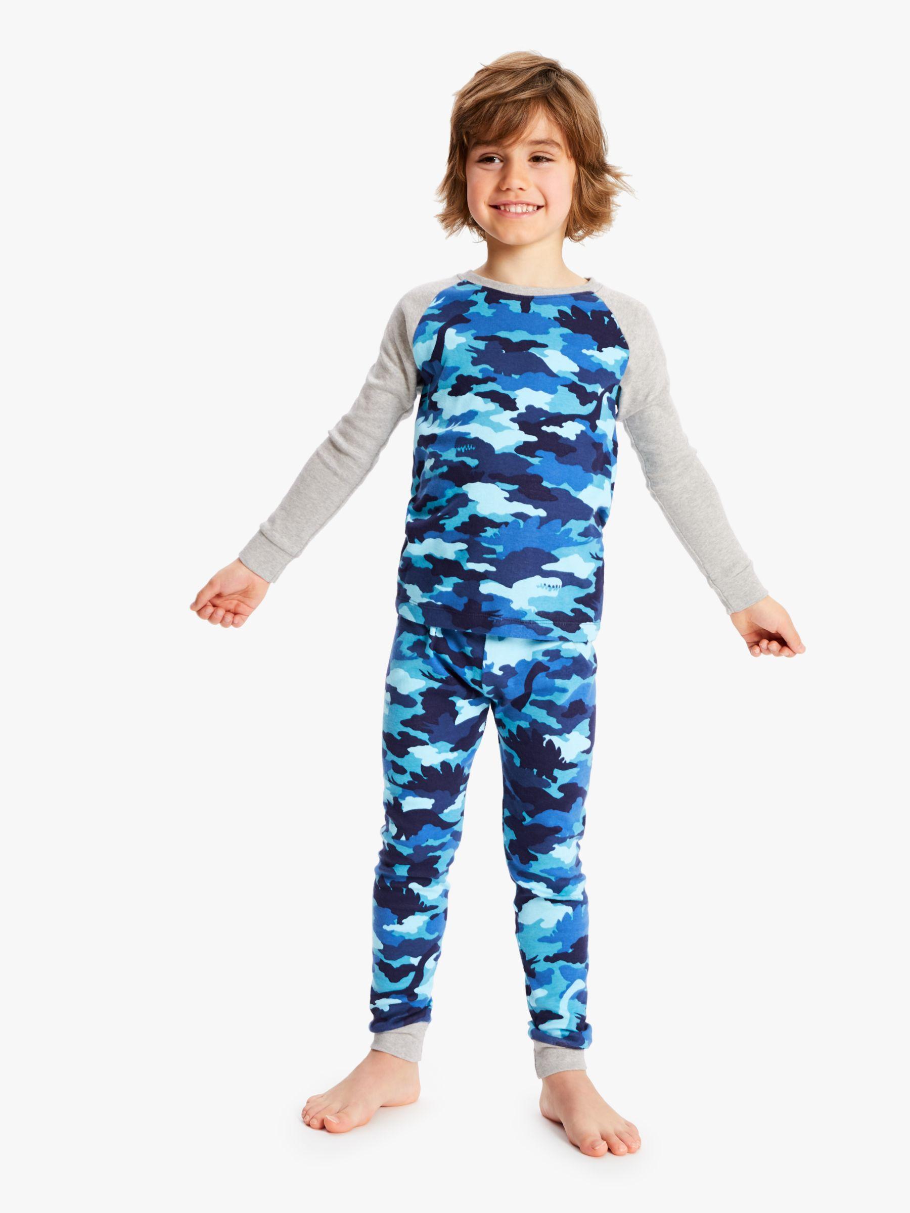 Hatley Hatley Boys' Dinosaur Camouflage Pyjamas, Blue
