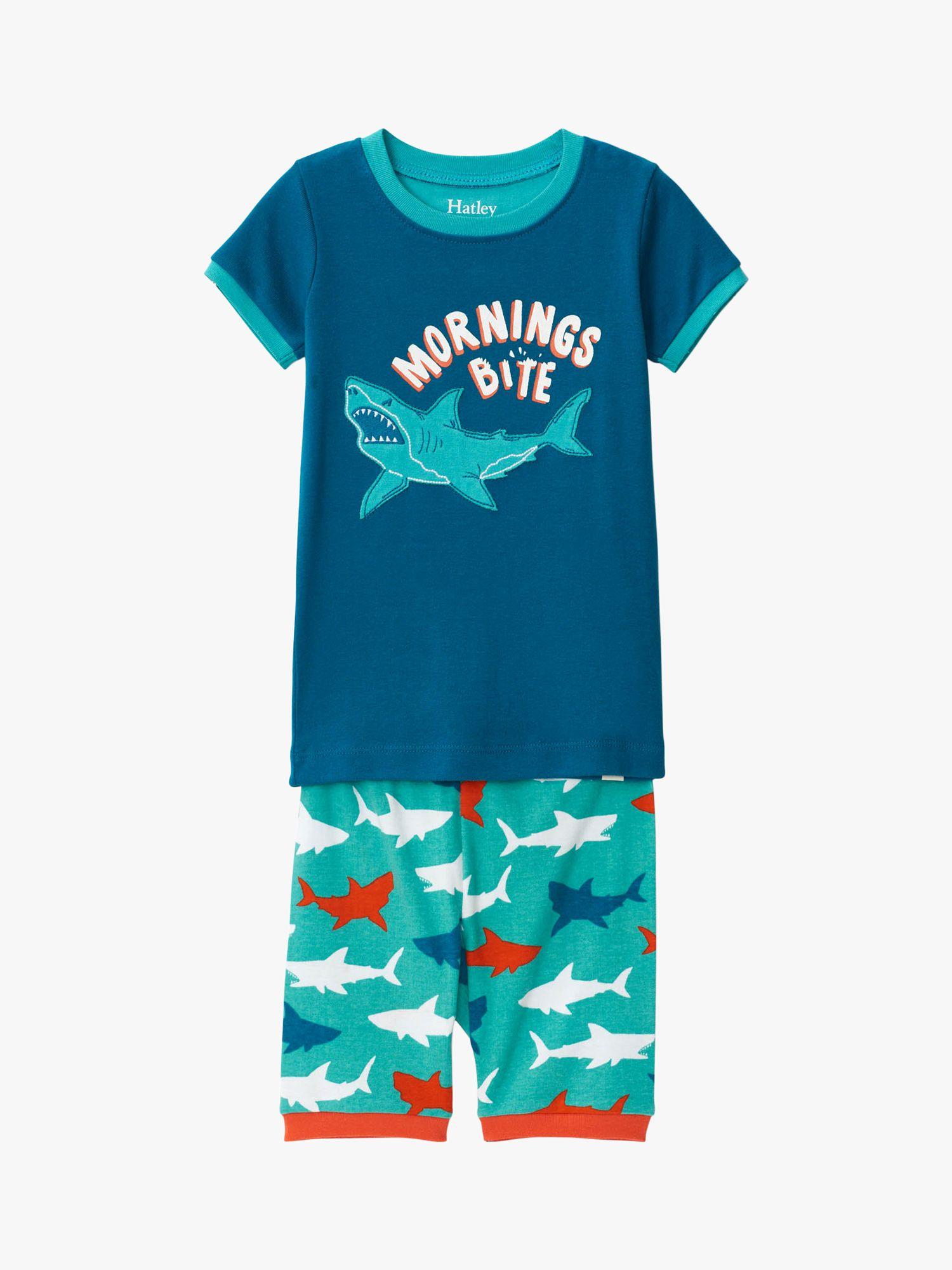 Hatley Hatley Boys' Shark Print Short Pyjamas, Blue