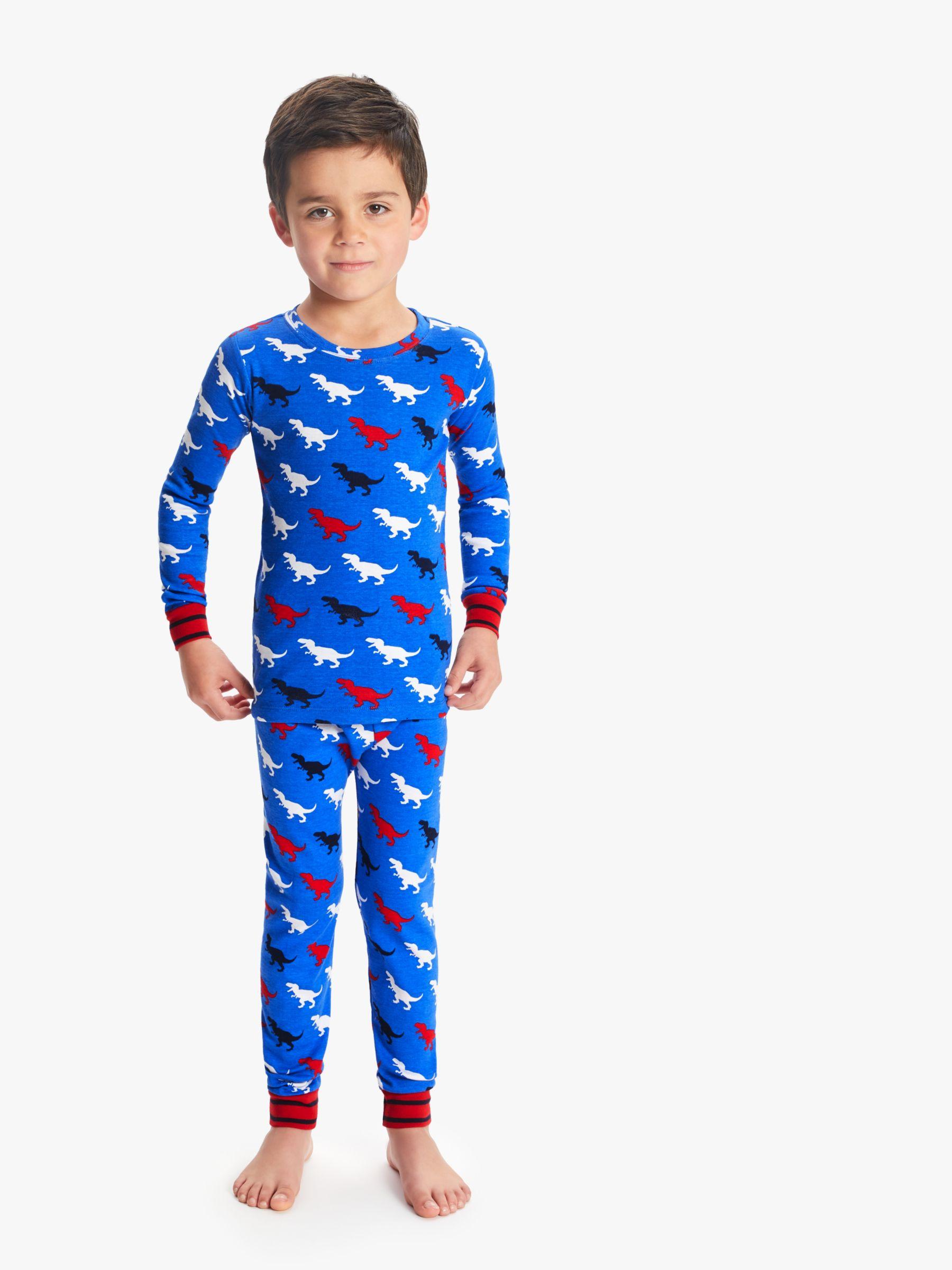 Hatley Hatley Boys' T-Rex Print Pyjamas, Blue
