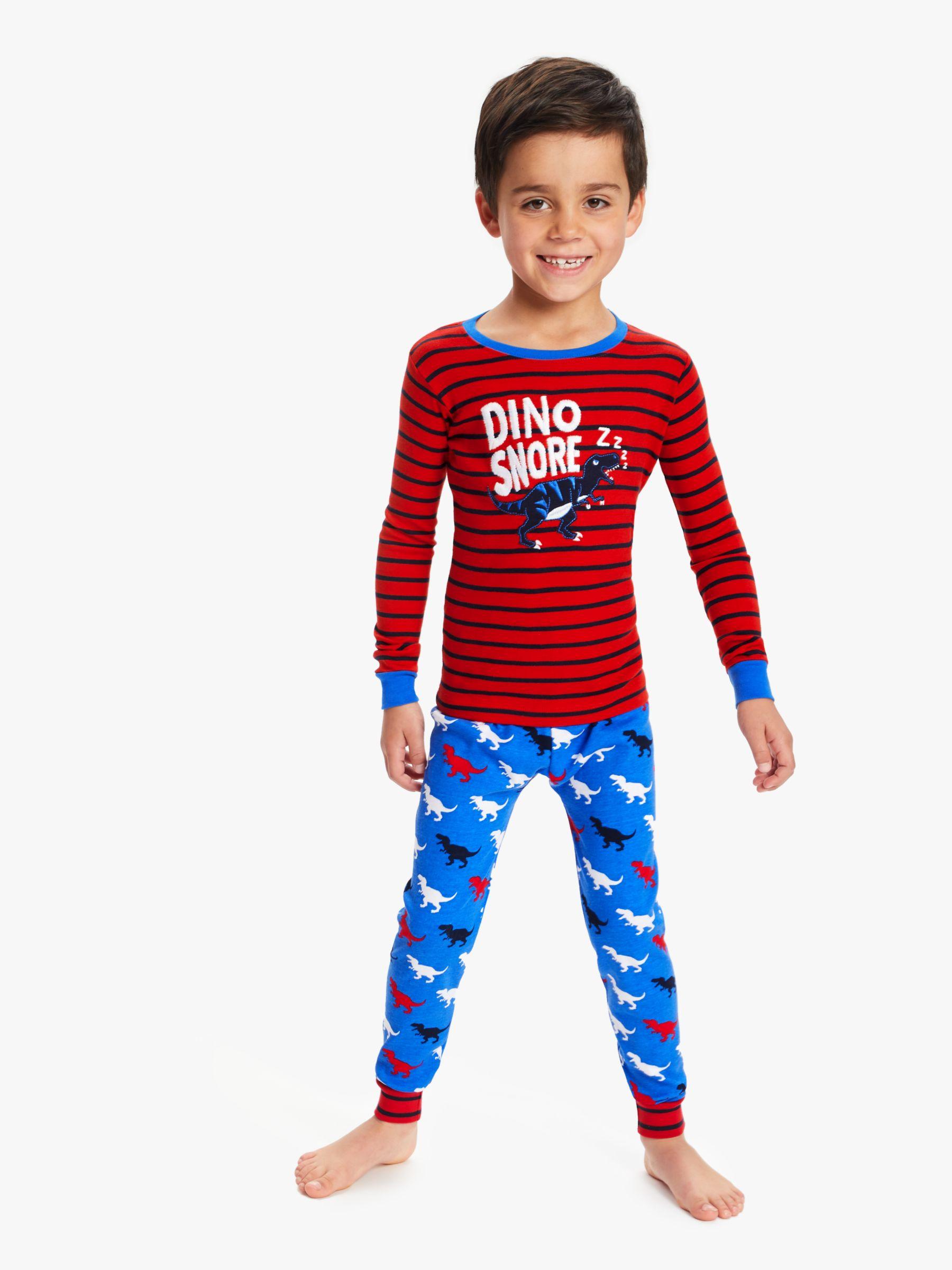 Hatley Hatley Boys' T-Rex Dinosaur Applique Pyjamas, Red/Blue
