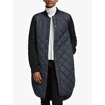 eileen fisher quilted longline coat, black/multi