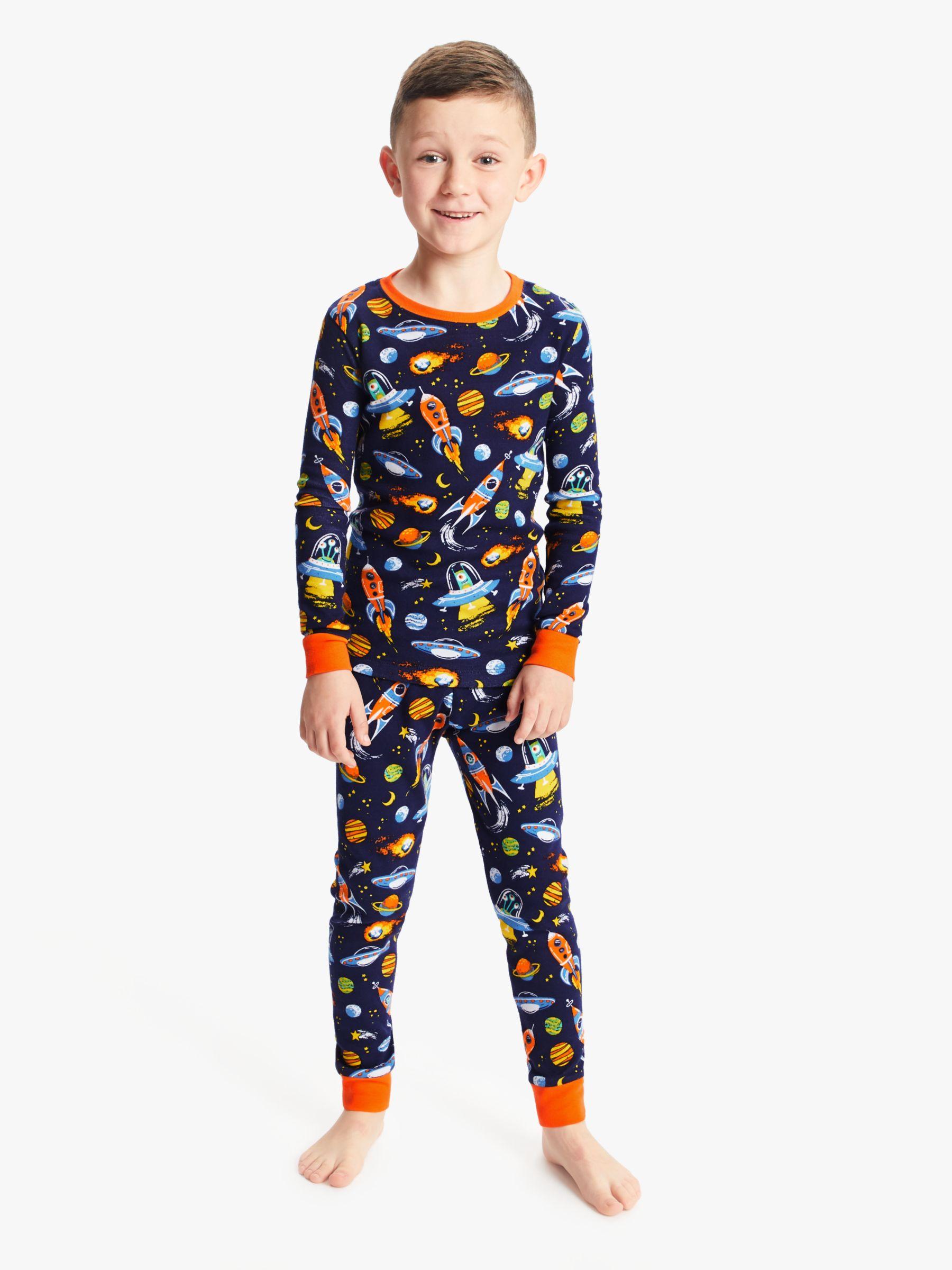 Hatley Hatley Boys' Retro Rockets Print Pyjamas, Navy