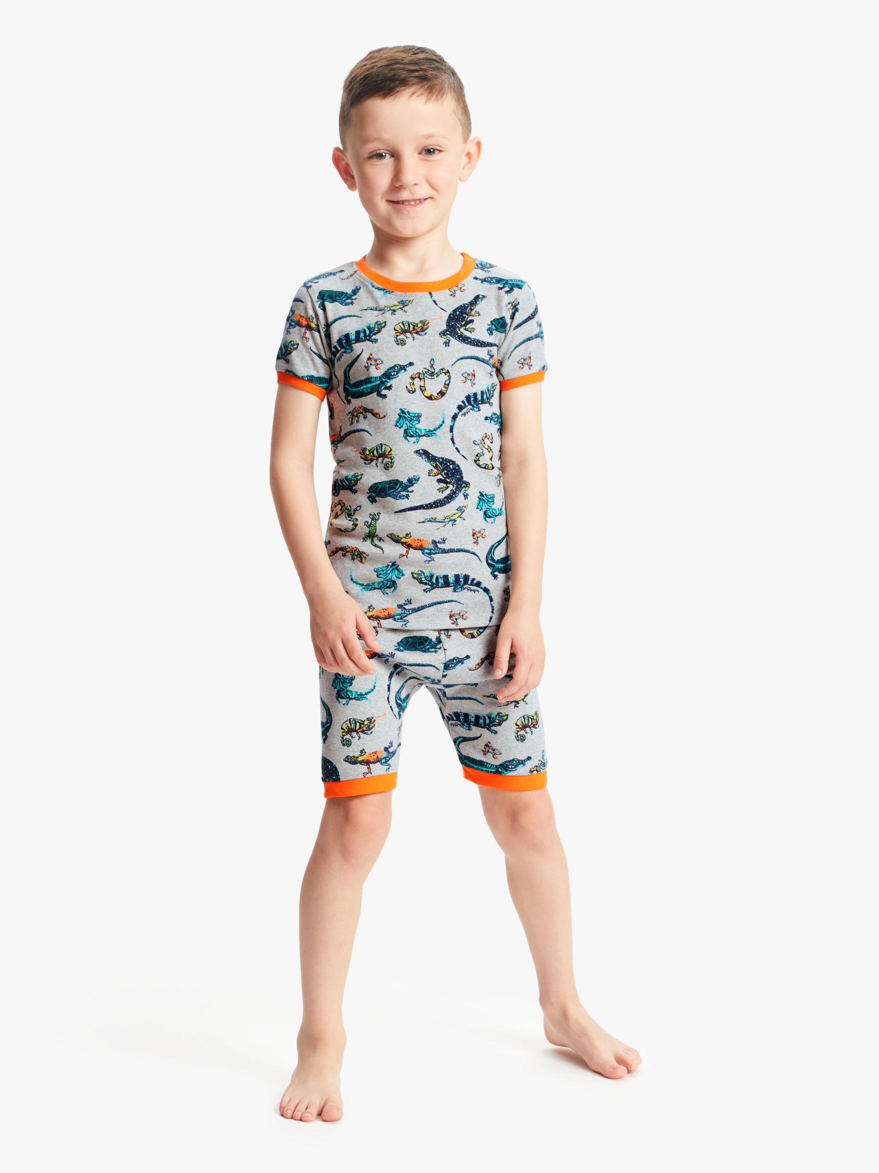Hatley Hatley Boys' Reptile Print Short Pyjamas, Grey