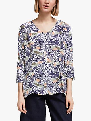 Kin Gyoda Floral Print Pleated Waist Top, Blue/Multi
