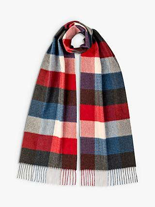 Johnstons of Elgin Block Check Cashmere Scarf, Blue/Red