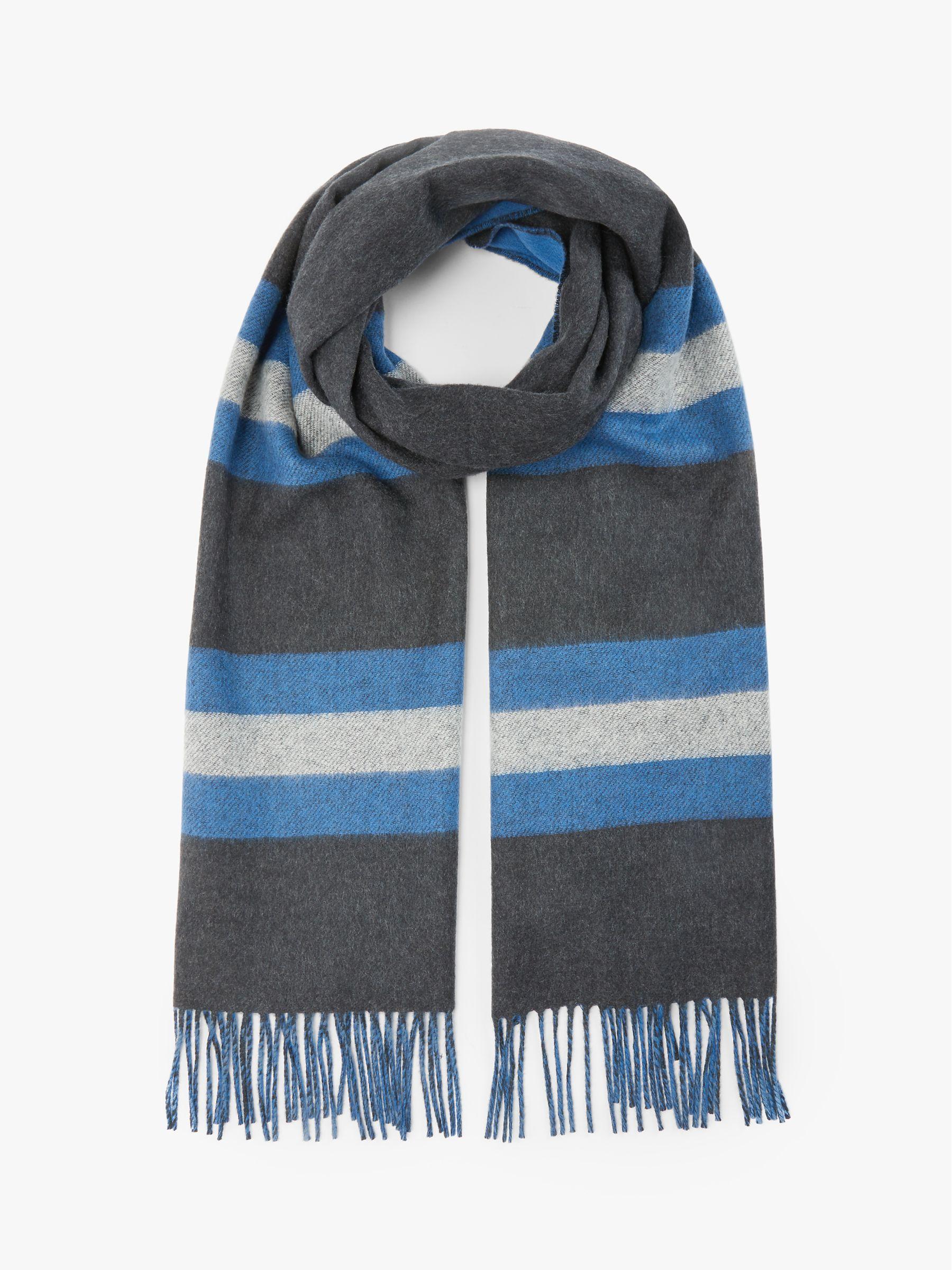 Johnstons of Elgin Johnstons of Elgin Cashmere Merino Reversible Stripe Scarf, Charcoal/Blue