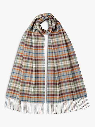 Johnstons of Elgin Check Cashmere Oversized Scarf, Grey/Multi