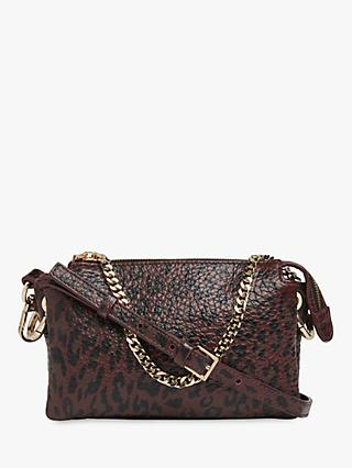 Whistles Hatton Leather Leopard Print Chain Bag, Burgundy