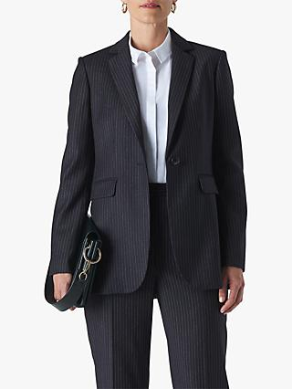 Whistles Pinstripe Wool Blend Blazer, Navy