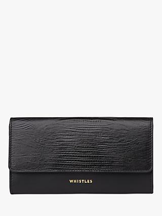 Whistles Bailey Leather Lizard Embossed Long Purse, Black