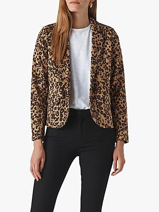 Whistles Animal Jacquard Jersey Jacket, Leopard Print