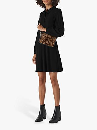 Whistles Pintuck Shirt Dress, Black