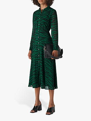 Whistles Carys Tiger Print Shirt Dress, Green/Multi