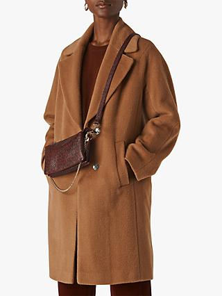 Whistles Mara Wool Drawn Cocoon Coat, Camel