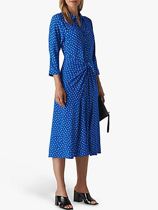 Whistles Selma Abstract Spot Tie Waist Dress, Blue/Multi