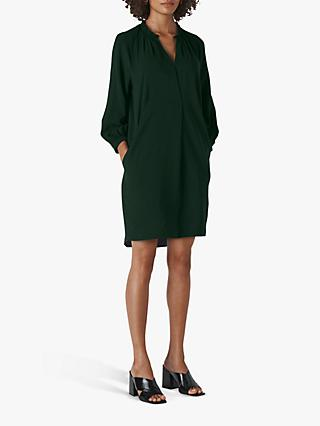 Whistles Enora Pleat Detail Straight Dress, Dark Green