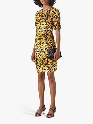 Whistles Ikat Animal Print Silk Bodycon Dress, Yellow/Multi