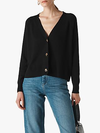 Whistles Button Front Cardigan, Black
