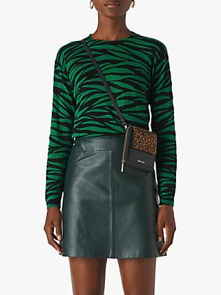 Whistles Tiger Stripe Crew Neck Jumper, Green/Multi