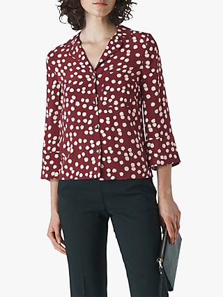Whistles Illustrated Flower Shirt, Burgundy