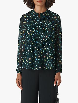 Whistles Scattered Floral Print Blouse, Green/Multi