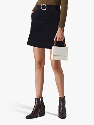 Whistles Corduroy Resin Buckle Mini Skirt, Navy