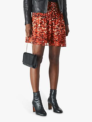 Whistles Ikat Animal Print Flippy Skirt, Red/Multi