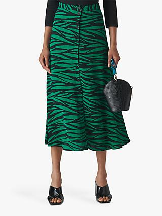 Whistles Tiger Print Button Midi Skirt, Green/Multi