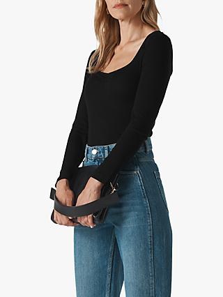Whistles Sweetheart Front Ribbed Long Sleeve Top, Black