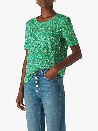 Whistles Ditsy Blossom Rosa T-Shirt, Green/Multi