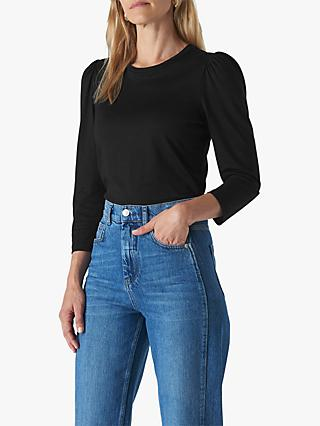Whistles Puff Sleeve Top, Black
