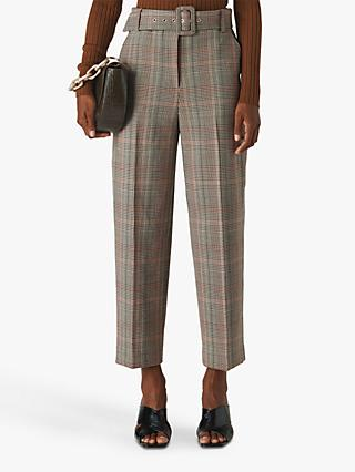 Whistles Check Print Tapered Trousers, Neutral