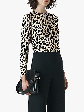 Whistles Brushed Cheetah Crew Neck Top, Neutral