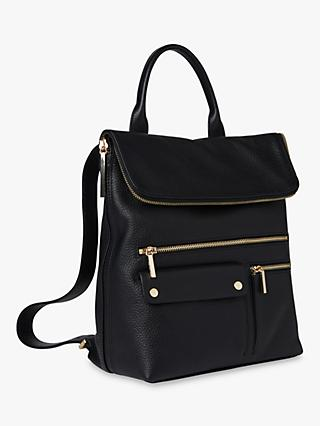 Whistles Farrow Leather Pocket Detail Backpack, Black