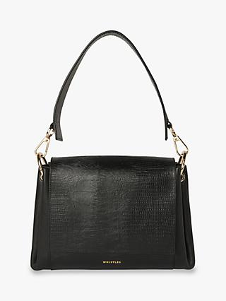 Whistles Edison Lizard Leather Shoulder Bag, Black