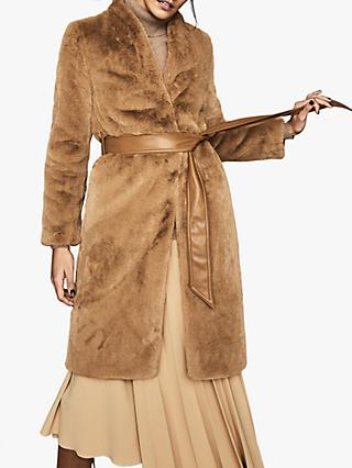 Reiss Halle Longline Faux Fur Coat