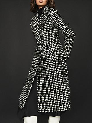 Reiss Celia Poppytooth Tailored Coat, Black/White