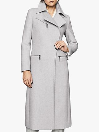 Reiss Anders Zip Detail Coat, Grey Melange