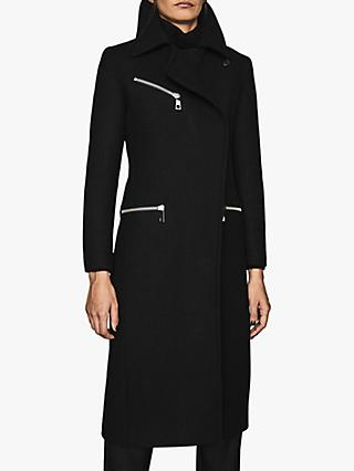Reiss Anders Zip Detail Coat, Black