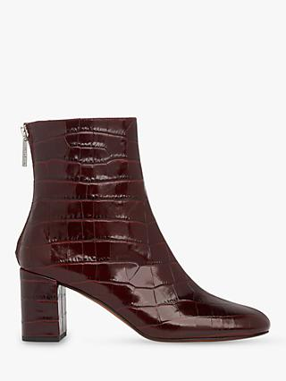 Whistles Bartley Leather Back Zip Ankle Boots