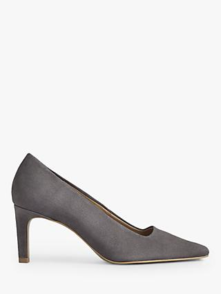 Jigsaw Delia Suede Pointed Toe Court Shoes, Dark Grey