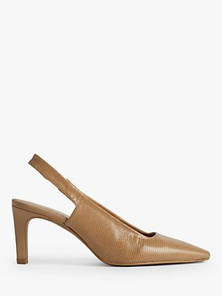 Jigsaw Jessy Leather Slingback Heels, Camel