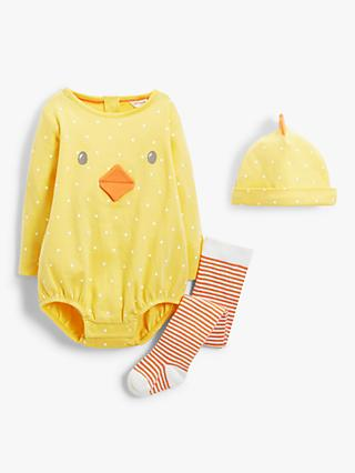 John Lewis & Partners Baby Organic Cotton Chick Romper, Hat & Socks Set, Yellow