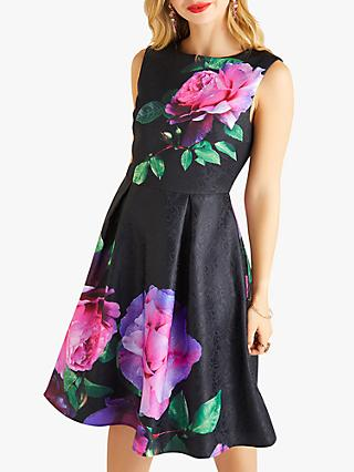 Yumi French Rose Print Jacquard Dress, Black