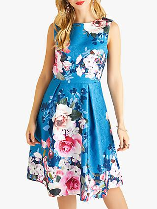 Yumi English Rose Placement Print Jacquard Dress, Teal