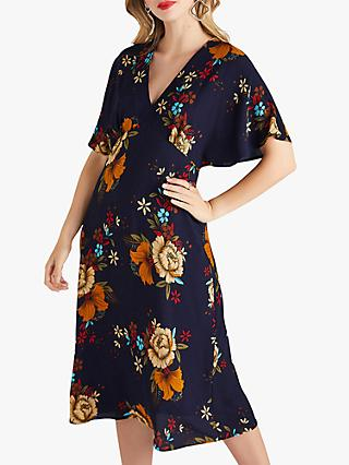 Yumi Flower Print Midi Dress, Navy