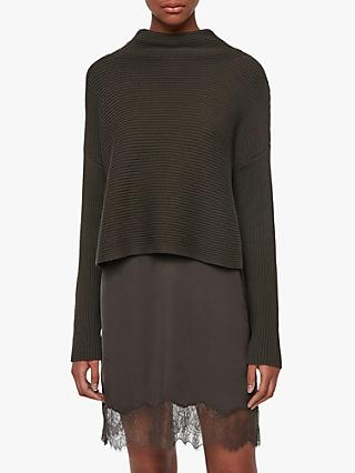 AllSaints Eloise Funnel Neck Jumper Dress, Military Green