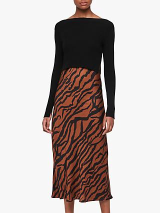 AllSaints Hera Zephyr Tiger Print Jumper Dress, Toffee/Black